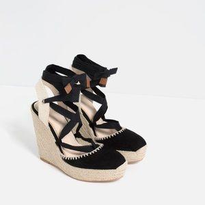 Zara Bow Detail Espadrille Wedges